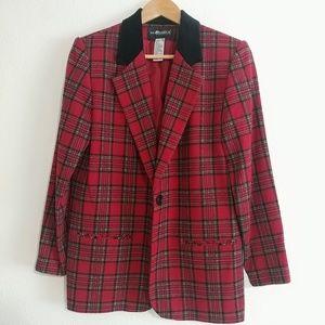 Sag Harbor Red plaid blazer vintage velvet lapel
